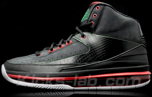 Air Jordan 2.0 Black Varsity Red-Green Gucci Detailed Look