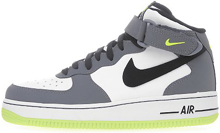 Nike Air Force 1 Mid GS White Black Volt Lime-Cloud Grey