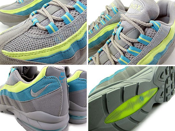 Nike Women's Air Max 95 - Grey/Citron Yellow-Mineral Blue - Available