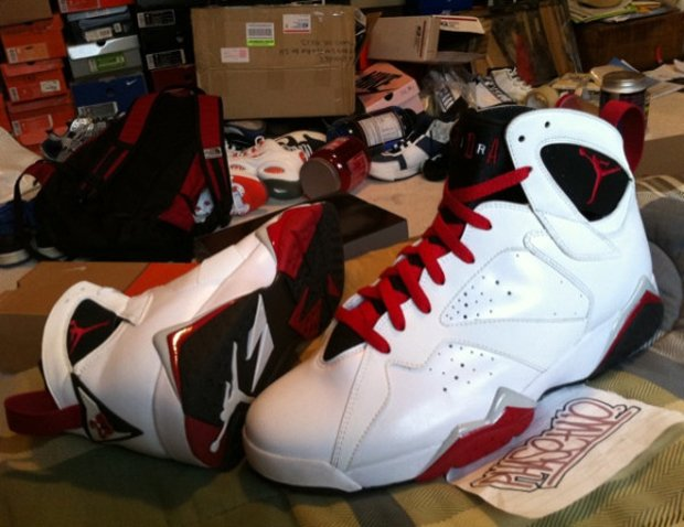 Air Jordan VII (7) Retro White Red Black Grey CDP Sample