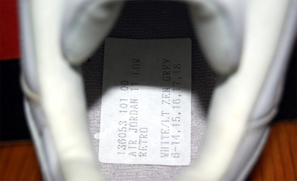 Air Jordan XI (11) Low White Light Zen Grey Sample