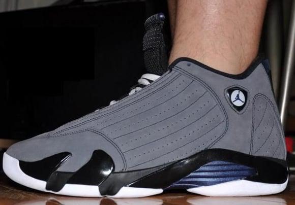 Air Jordan XIV (14) Light Graphite Midnight Navy-Black on Feet