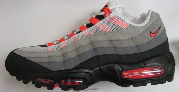 sale retailer da12e 3e5fa Nike Air Max 95 Grey/Solar Red Releasing July 2011 ...