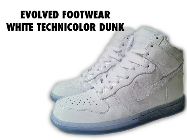 evolved footwear white technicolor nike dunk high custom
