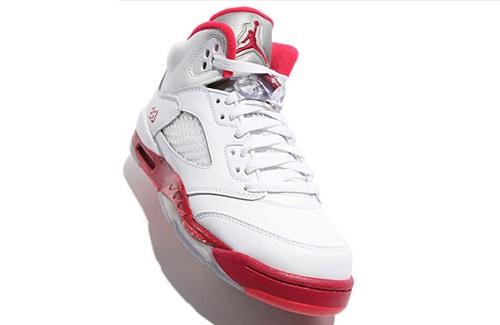 Air Jordan Retro V (5) GS - White/Legacy Red-Scarlet Fire