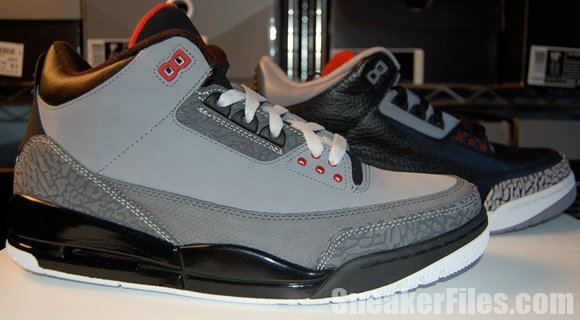 953734fb6778ed Air Jordan 3 Stealth vs. Jordan 3 Black Cement 2011 Comparison Video ...