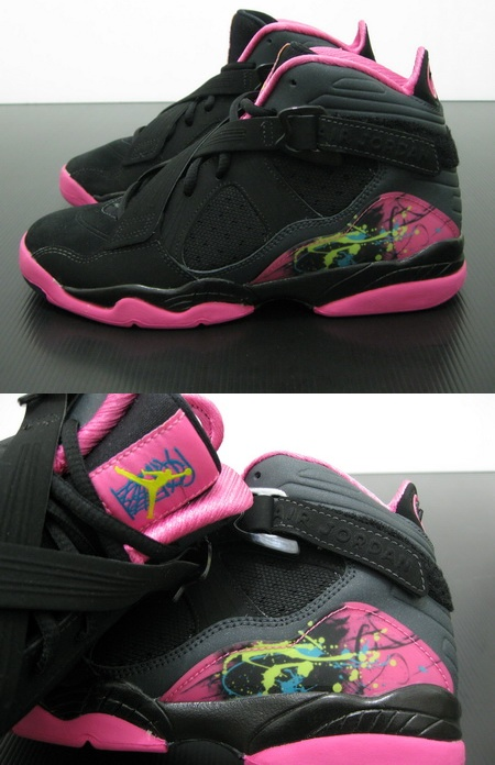 Air Jordan 8.0 GS (Girls) Black Hot Pink