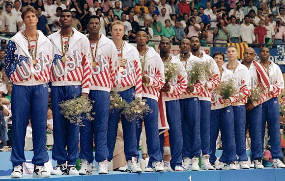 Christian Laettner Ceremony 1992 Olympic