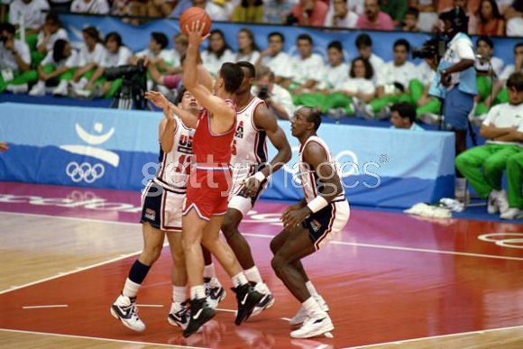 Clyde Drexler on Defense with Stockton Robinson 1992 Olympic