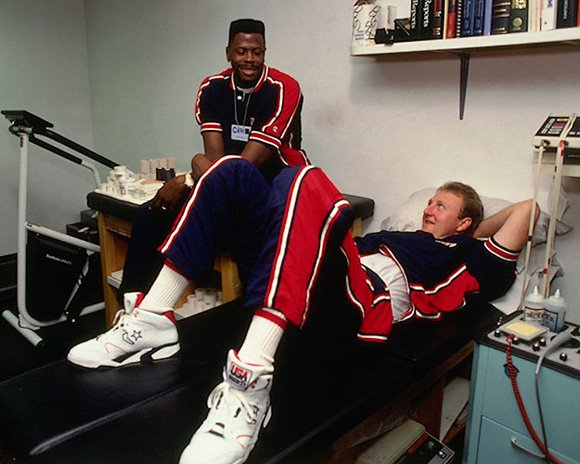 Larry Bird Ewing in Training Room 1992 Olympic