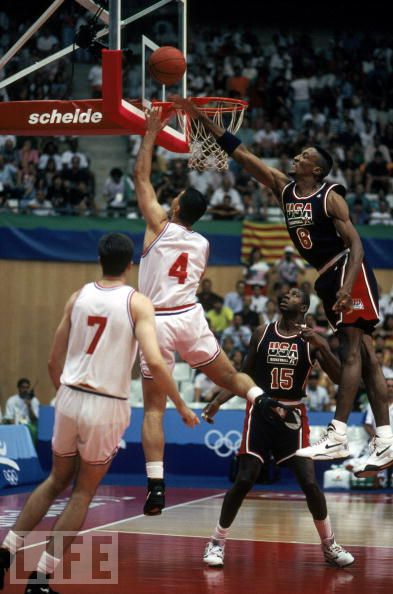 Scottie Pippen Blocks Layup in Nike Flight Lite Olympic 1992