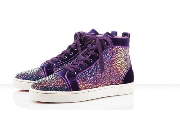 Christian Louboutin x Swarovski Crystal Purple Velvet Sneakers