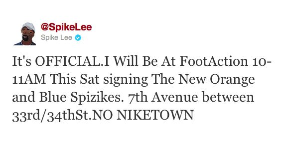 Spike Lee to Sign Knicks Spiz'ikes Saturday in NYC