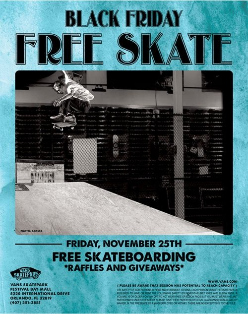 Vans Black Friday Free Skate