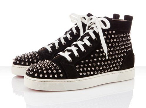Christian Louboutin Louis Flat Spikes - Black/White