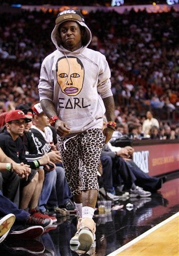 Lil Wayne Rocks Nike Air Yeezy Courtside in Miami vs. Atlanta 1