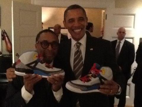 President Barack Obama Receives Air Jordan Spiz'ike Box Set From Spike Lee