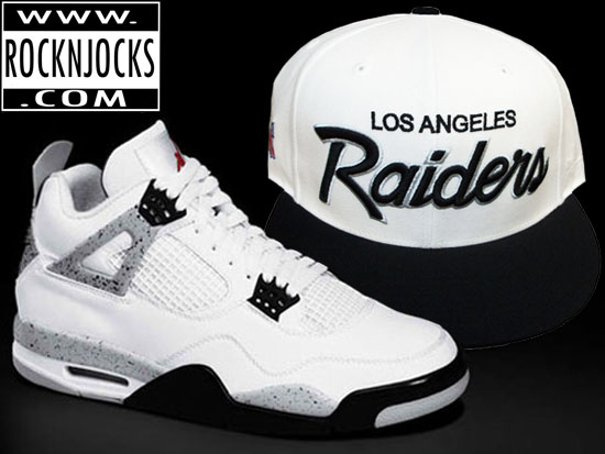 Match Your Jordan 4 White Cements with a LA Raiders Mitchell & Ness Fitted