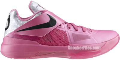 Nike Zoom KD IV Aunt Pearl Pinkfire White Silver Release Date