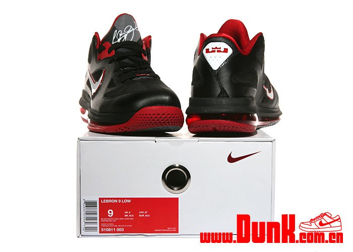 Nike LeBron 9 Low 'Black/White-Cool Grey-Sport Red'