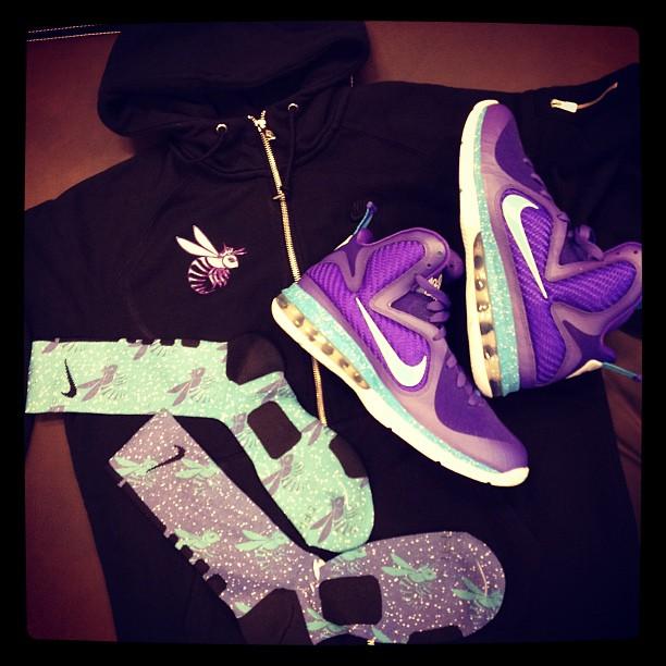 Nike LeBron 9 'Summit Lake Hornets' Elite Socks and AW77