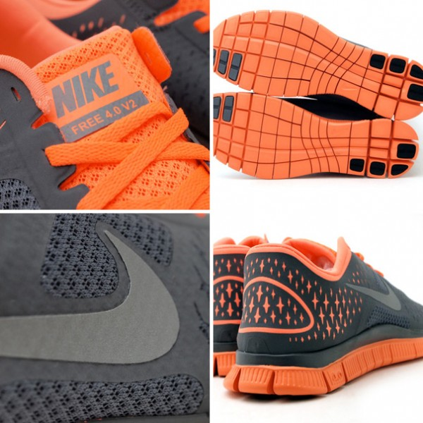 Nike Free 4.0 V2 'Dark Grey/Orange'
