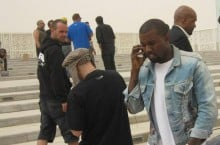 "Celebrity Sneaker Watch: Kanye West in YMC Snakeskin Deck Shoes on Set of ""Mercy"""