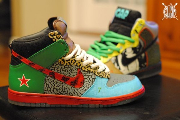 Nike SB Dunk High 'What The Dunk' Customs by El Cappy