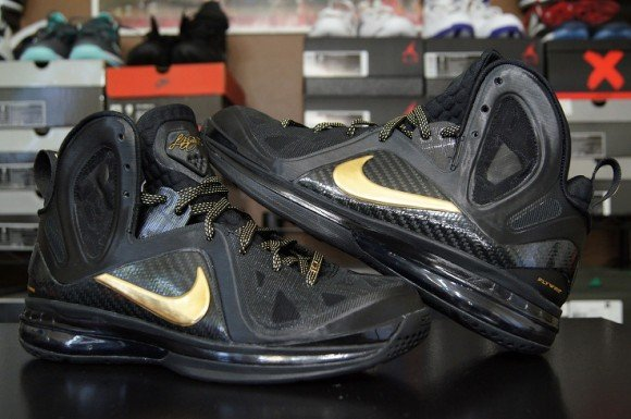 huge selection of 6ffbf 082a0 Video  Nike LeBron 9 PS Elite Away Black Metallic Gold