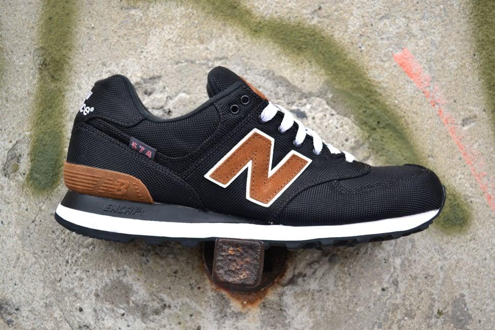 new balance 574 black and brown