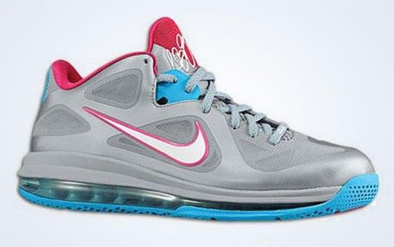 Nike LeBron 9 Low  Silver Blue-Pink   dbbdcd3b0338