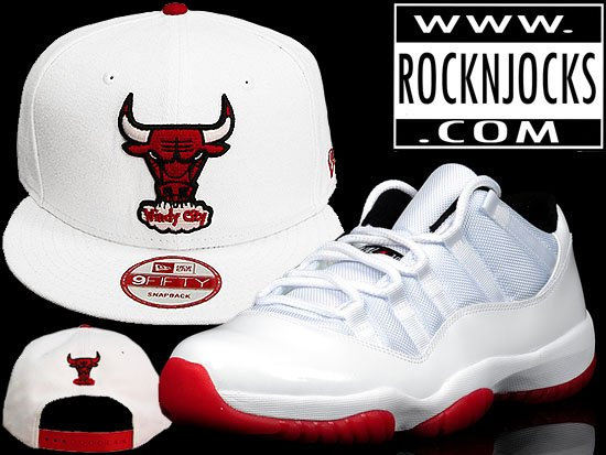 Custom Chicago Bulls SnapBack Matching the Jordan 11 Low White Red ... ea243e51d19b