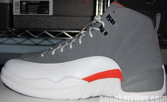 online retailer dfb5e f1dfb Cool Grey Team Orange Air Jordan 12 Video | SneakerFiles