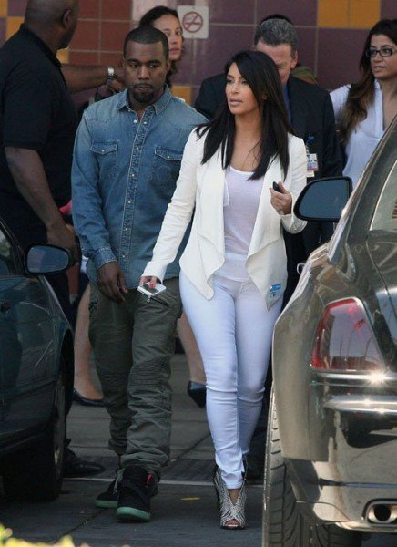 Kanye West In The Yeezy 2 In La Alongside Kim Kardashian