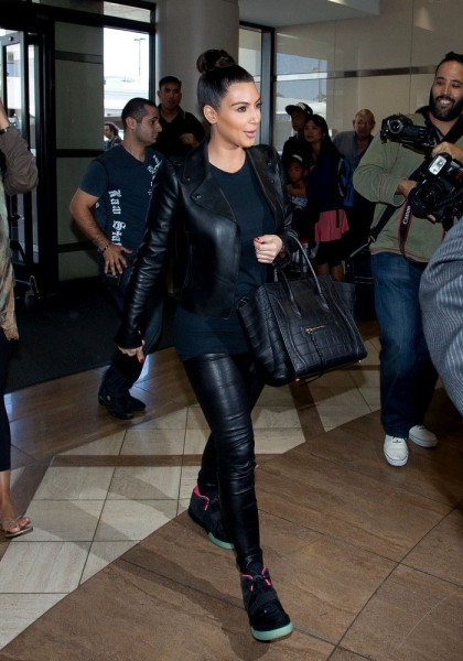 Kim Kardashian Heads to the Airport in the Nike Air Yeezy 2