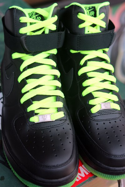 Nike Air Force 1 High 'Black/Volt' at Social Status