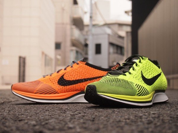 womens nike flyknit racer orange black