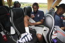 Celebrity Sneaker Watch: James Harden Spotted in Nike Air More Uptempo 'Olympic'