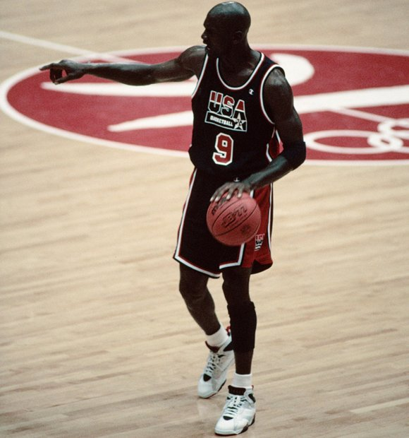 10b403a70b5d6b Michael Jordan Calling Plays Midcourt Olympic 1992
