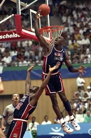 Michael Jordan Grabbing Rebound 1992
