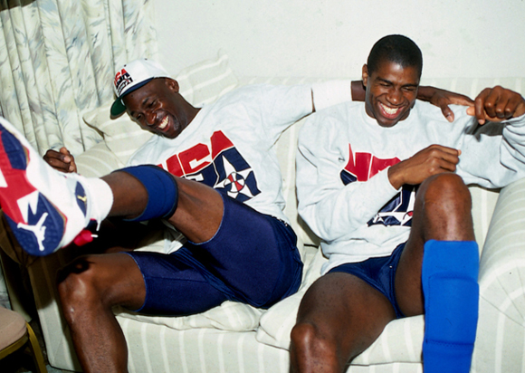 Michael Jordan hanging with Magic Johnson 1992 Dream Team