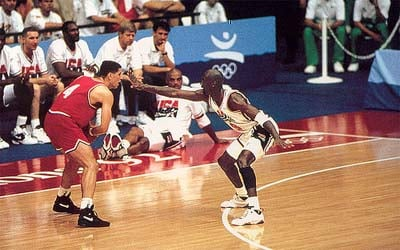 Michael Jordan Playing Defense Olympic 1992