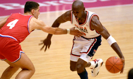 Michael Jordan Running Past Olympic Player