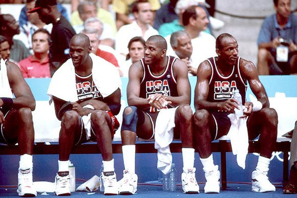 Michael Jordan Sideline in Barcelona Spain with Clyde Drexler + Magic Johnson