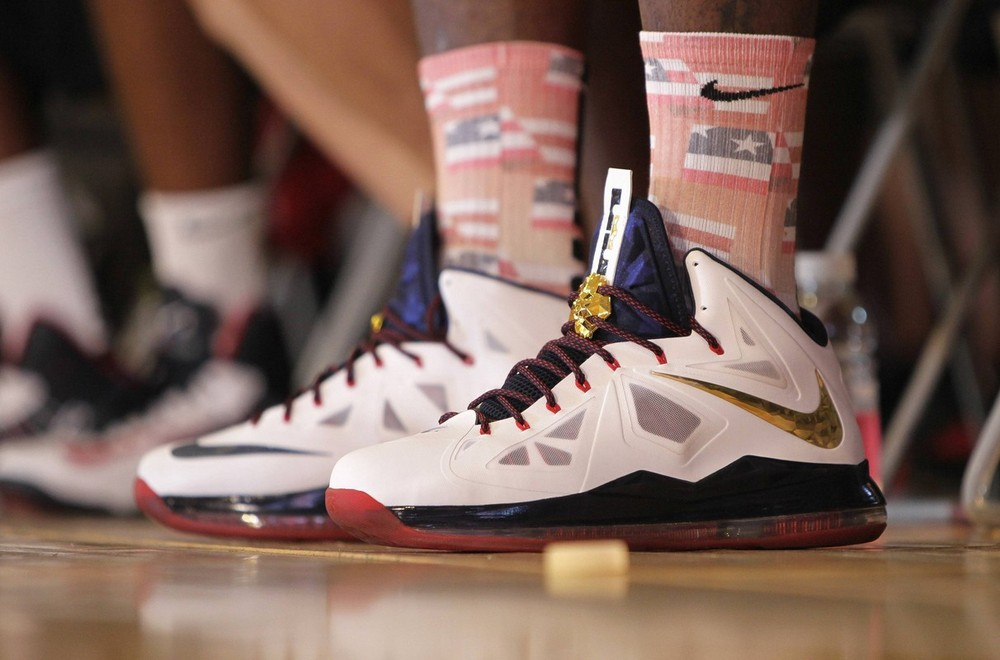 LeBron James in the Nike LeBron X+ Sport Pack 'Gold Medal'