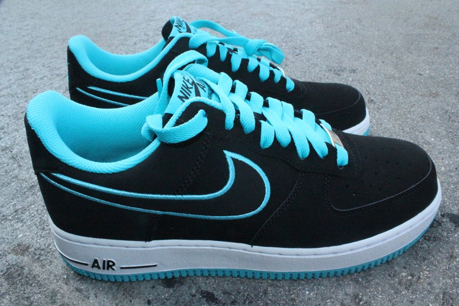 Nike Air Force 1 Low Embroidery  Black Turquoise Blue   5c90631bc9
