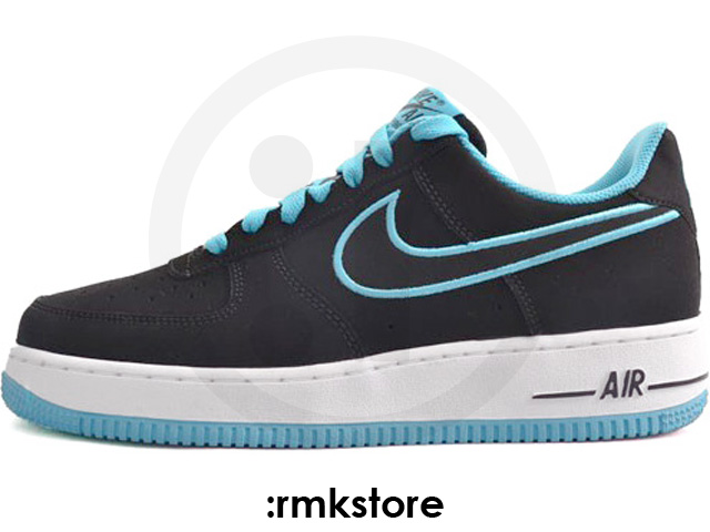 Nike Air Force 1 Low Embroidery 'Black/Turquoise Blue'