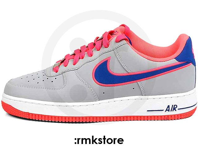 Nike Air Force 1 Low Embroidery 'Wolf Grey/Game Royal-Hot Punch'