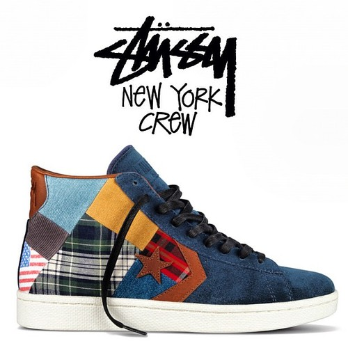 Release Reminder: Stussy New York Crew x Converse Pro Leather 'Patchwork'