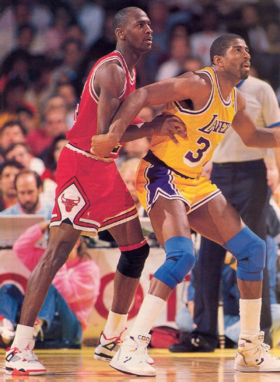 Michael Jordan Playing Defense on Magic Johnson in 1989